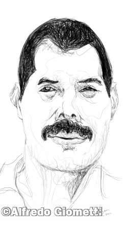 Freddy Mercury caricatura caricature portrait