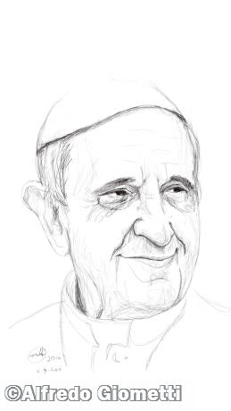 Papa Francesco caricatura caricature portrait