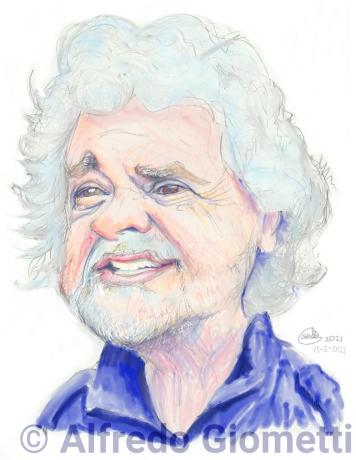 Beppe Grillo caricatura caricature portrait