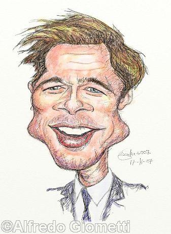 Brad Pitt caricatura caricature portrait