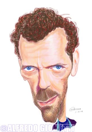 Dr. House ( Hugh Laurie ) caricatura caricature portrait