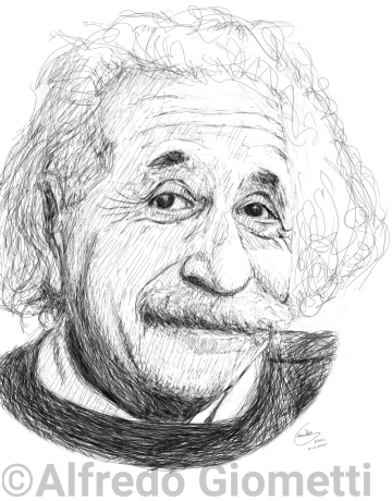 Albert Einstein caricatura caricature portrait