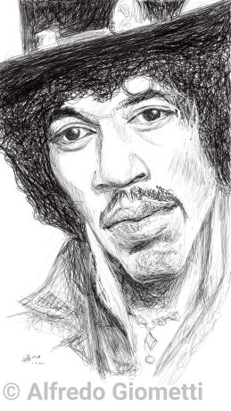 Jimi Hendrix caricatura caricature portrait