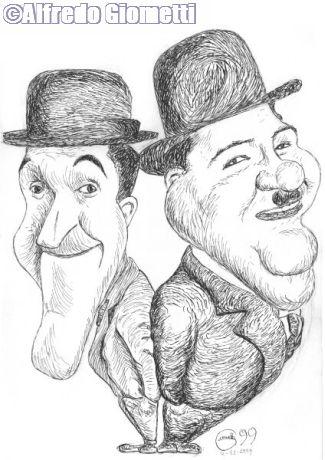 Stan Laurel & Oliver Hardy caricatura caricature portrait