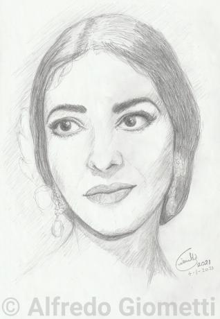 Maria Callas caricatura caricature portrait
