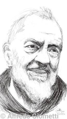 Padre Pio (san Pio) caricatura caricature portrait