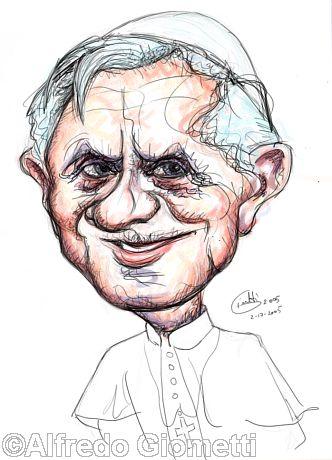 Papa Benedetto XVI, Joseph Ratzinger caricatura caricature portrait