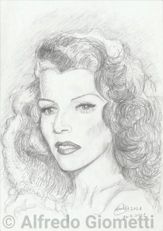 Rita Hayworth ritratto caricature portrait