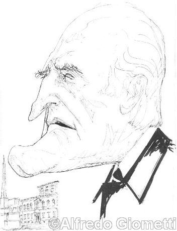Oscar Luigi Scalfaro caricatura caricature portrait