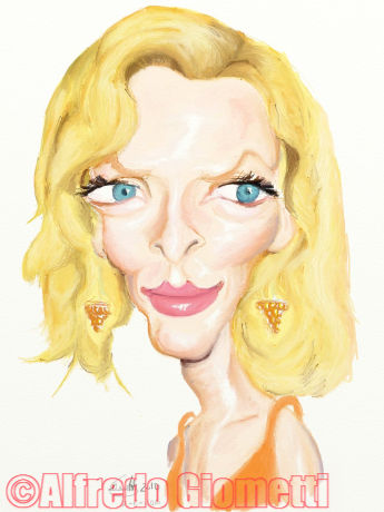 Uma Thurman caricatura caricature portrait